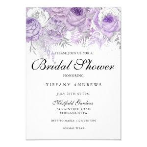 Lavender Purple Sparkle Flowers Bridal Shower Invitation starting at 2.55