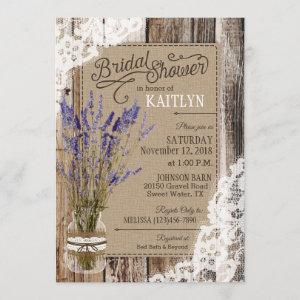 Lavender Wood Lace Rustic Bridal Shower Invitation starting at 2.77