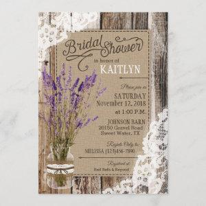 Lavender Wood Lace Rustic Bridal Shower Invitation starting at 2.82