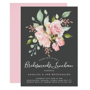 Lavish Pink Roses & Glitter Bridesmaids Luncheon Invitation starting at 2.51