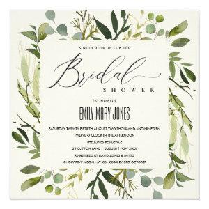 LEAFY GREEN GOLD FOLIAGE WATERCOLOR BRIDAL SHOWER INVITATION starting at 2.55