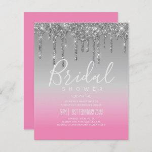 LeahG BUDGET Bridal Shower Silver Pink Glitter Inv starting at 0.61