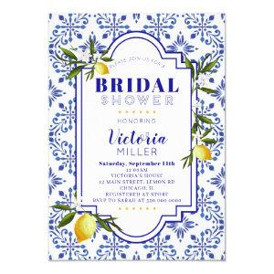 Lemon and Navy Watercolor Bridal Shower Invitation starting at 2.55