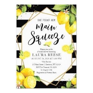 Lemon Black Stripes Bridal Shower Invitation starting at 2.55