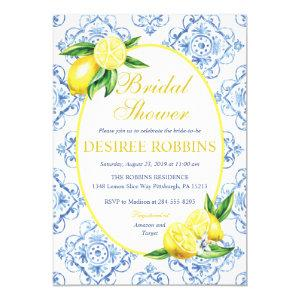 Lemon Bridal Shower Invitation, Blue Tile Italian Invitation starting at 2.20