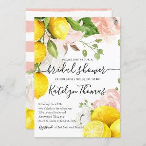 Lemon Bridal Shower Invitation with Pink Flowers starting at 2.70