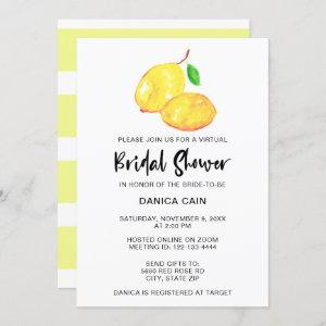 Lemon Bridal Shower virtual online Elegant  simple Invitation starting at 2.55