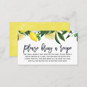 Lemon Floral Bridal Shower Recipe Card Request starting at 22.15