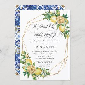 Lemon Floral Geometric Main Squeeze Bridal Shower Invitation starting at 2.40