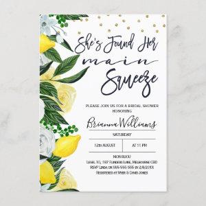 Lemon Floral Main Squeeze Bridal Shower Invitation starting at 2.10