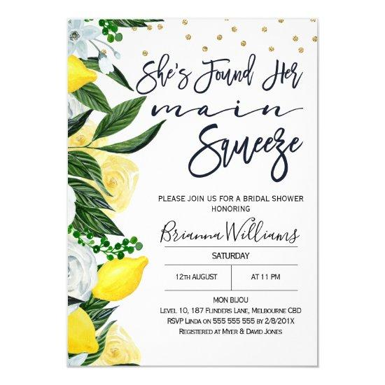 Lemon Floral Main Squeeze Bridal Shower Invitation