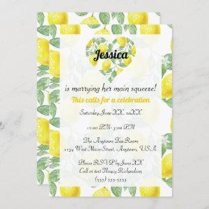 Lemon Pattern Heart Main Squeeze Bridal Shower Invitation starting at 2.55