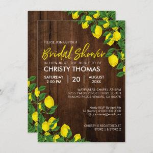 Lemon Watercolor Rustic Wood Bridal Shower Invitation starting at 2.21