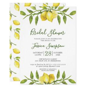 Lemons Blossom Greenery  Watercolor Bridal Shower Invitation starting at 2.15