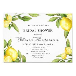 Lemons Chic Greenery  Watercolor Bridal Shower Invitation starting at 2.10