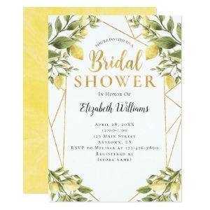 Lemons Greenery Geometric Frame Bridal Shower Invitation starting at 2.82