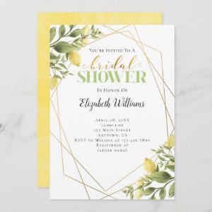 Lemons Greenery Geometric Frame Bridal Shower Invitation starting at 2.98