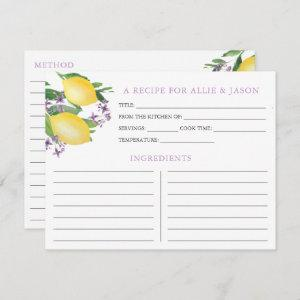 Lemons Lavender Recipe Card With Couple Names starting at 2.31