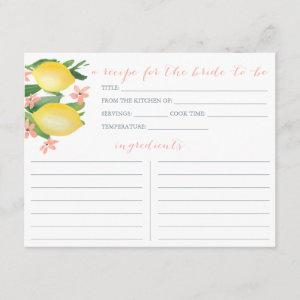 Lemons Soft Pink Text Flowers Shower Recipe Card starting at 2.31