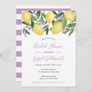 Lemons Yellow and Purple Citrus Bridal Shower Invitation starting at 2.66