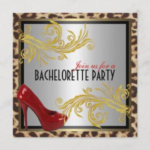Leopard & Hot Red Heels Bachelorette Party Invite starting at 2.41