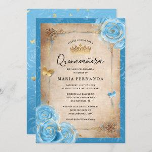 Light Sky Blue and Gold Rose Elegant Quinceanera Invitation starting at 2.82