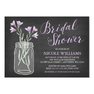 Lilac Flowers Mason Jar Chalkboard Bridal Shower Invitation starting at 2.21
