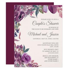 Lilac Plum Purple Floral Couple's Bridal Shower Invitation starting at 2.20