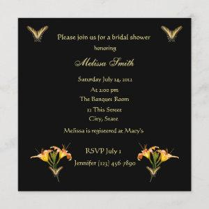 Lilies and Butterflies bridal shower invitation starting at 2.51