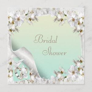 Lilies, Doves & Wedding Bands Mint Bridal Shower Invitation starting at 2.51