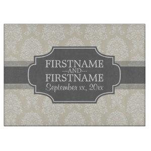 Linen Beige and Charcoal Damask Pattern Cutting Board starting at 42.95