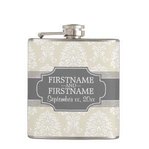 Linen Beige and Charcoal Damask Pattern Hip Flask starting at 26.95
