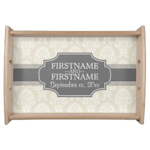 Linen Beige and Charcoal Damask Pattern Serving Tray starting at 42.60