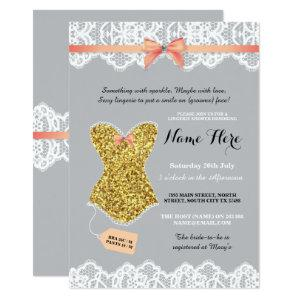 Lingerie Shower Bridal Gold Coral Glitter Invite starting at 2.51