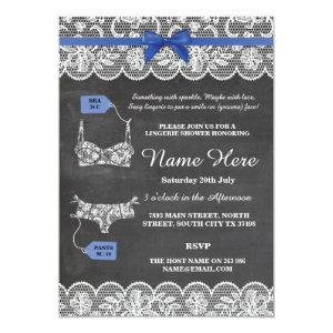 Lingerie Shower Bridal Party Blue Bow Lace Invite starting at 2.51