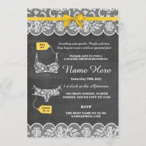Lingerie Shower Bridal Party Gold Bow Lace Invite starting at 2.51