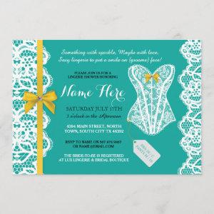 Lingerie Shower Invite Teal Gold Bridal Party Lace starting at 2.51