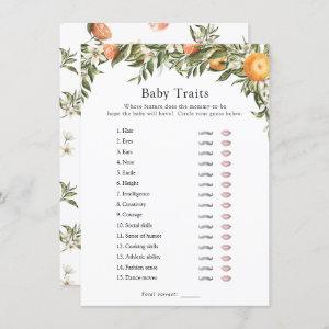 Little Cutie Citrus Baby Traits Shower Game Invitation starting at 2.10