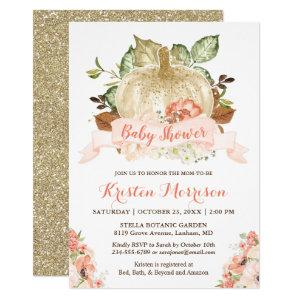 Little Pumpkin Gold Glitters Fall Baby Shower Invitation starting at 2.30