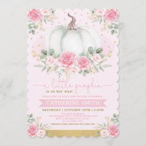 Little Pumpkin Pink Gold Floral Fall Baby Shower Invitation starting at 2.91