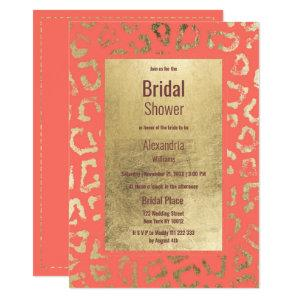 Living coral gold animal print Bridal Shower Invitation starting at 2.51