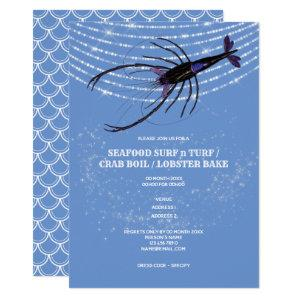 Lobster illustration string lights fish scale chic invitation starting at 2.25