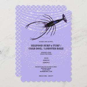 Lobster string lights fish scale lilac crawfish invitation starting at 2.50