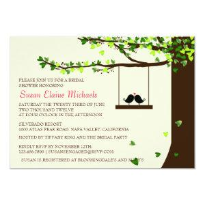 Love Birds Falling Hearts Oak Tree Bridal Shower Invitation starting at 2.51