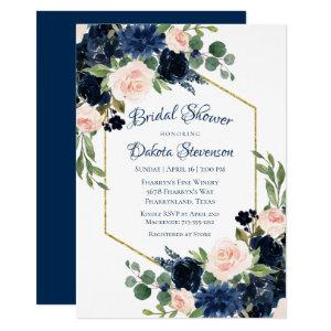 Love Bloom | Chic Blush Navy Floral Bridal Shower Invitation starting at 2.15