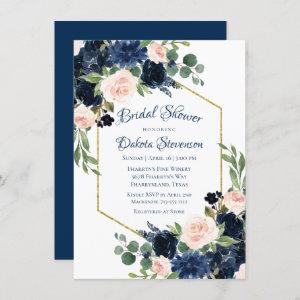 Love Bloom | Chic Blush Navy Floral Bridal Shower Invitation starting at 2.10