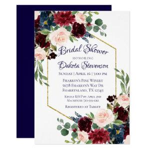 Love Bloom | Rustic Navy Burgundy Bridal Shower Invitation starting at 2.40