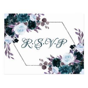 Love Bloom | Teal Turquoise Dark Moody Flora RSVP Postcard starting at 1.20