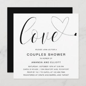 Love Heart Black White Typography Couples Shower Invitation starting at 2.41