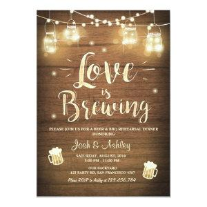 Love is brewing bbq rehearsal bridal shower Wood Invitation starting at 2.66
